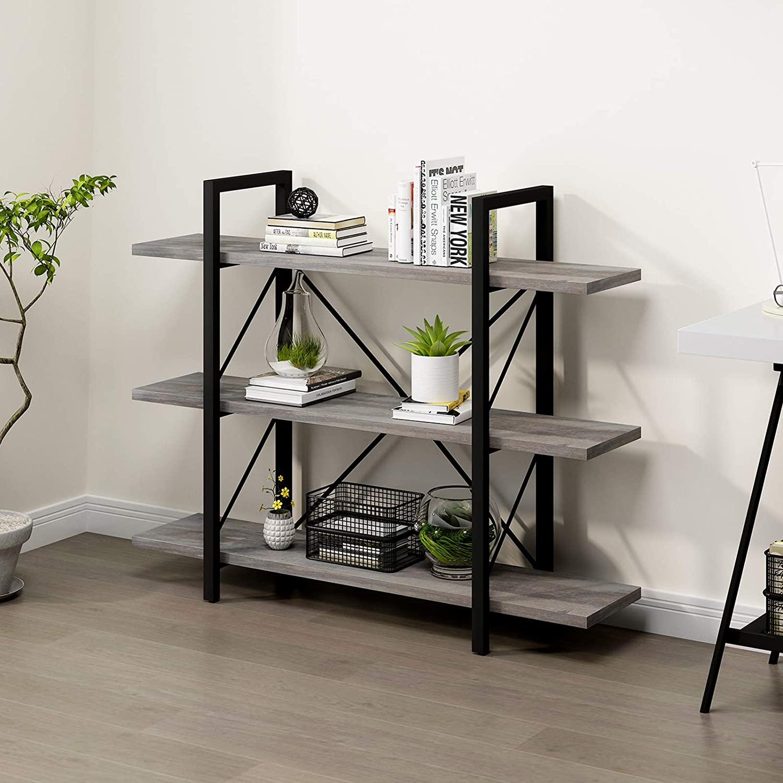 YITAHOME 3 Shelf Bookcase, Classically Rustic Gray Bookshelf, Book Rack, Storage Rack Shelves in Living Room/Home/Office, Books Holder Organizer for Books/Movies, Grey Oak