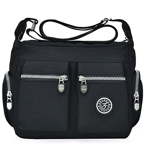 Women s Nylon Casual Shoulder Bag Crossbody Bags Casual Messenger Bags  Handbag (Black) 62ef1e4d9fef3