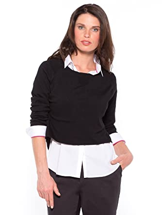 Balsamik - Pull court col rond manches longues, très mode - femme - Taille   083b1c79a100