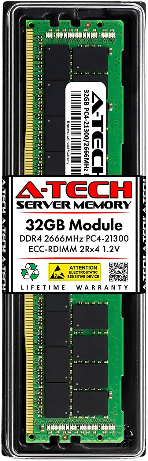 A-Tech 32GB Memory RAM for Dell PowerEdge T440 - DDR4 2666MHz PC4-21300 ECC Registered RDIMM 2Rx4 1.2V - Single Server Upgrade Module (Replacement for A9781929)