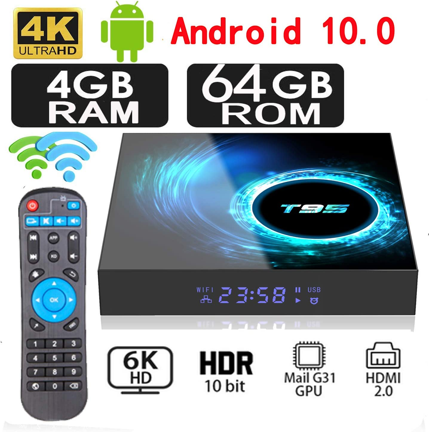 2020 New Upgrade Android 10.0 TV Box 4GB RAM 64GB ROM Allwinner H616 Quad-core 64bit WiFi 2.4/5GHz WiFi Bluetooth, HDMI 2.0 Support 4K 3D/H.265 Android Box