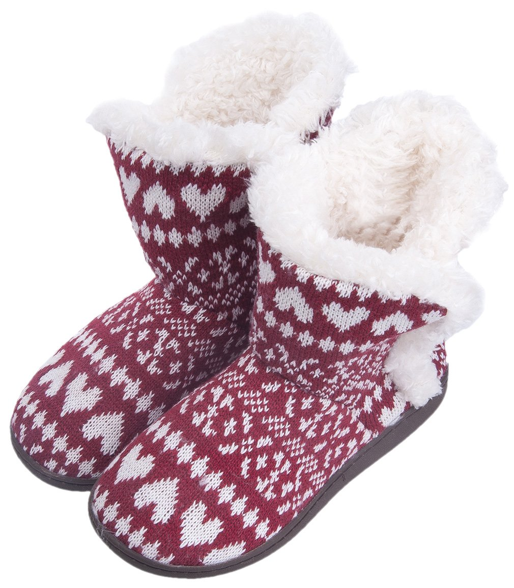 MIXIN Women's Anti Slip Knitted Woolen Striped Faux Fleece Lined Indoor Outdoor Slipper Boots Heart Rose Red 10 M US