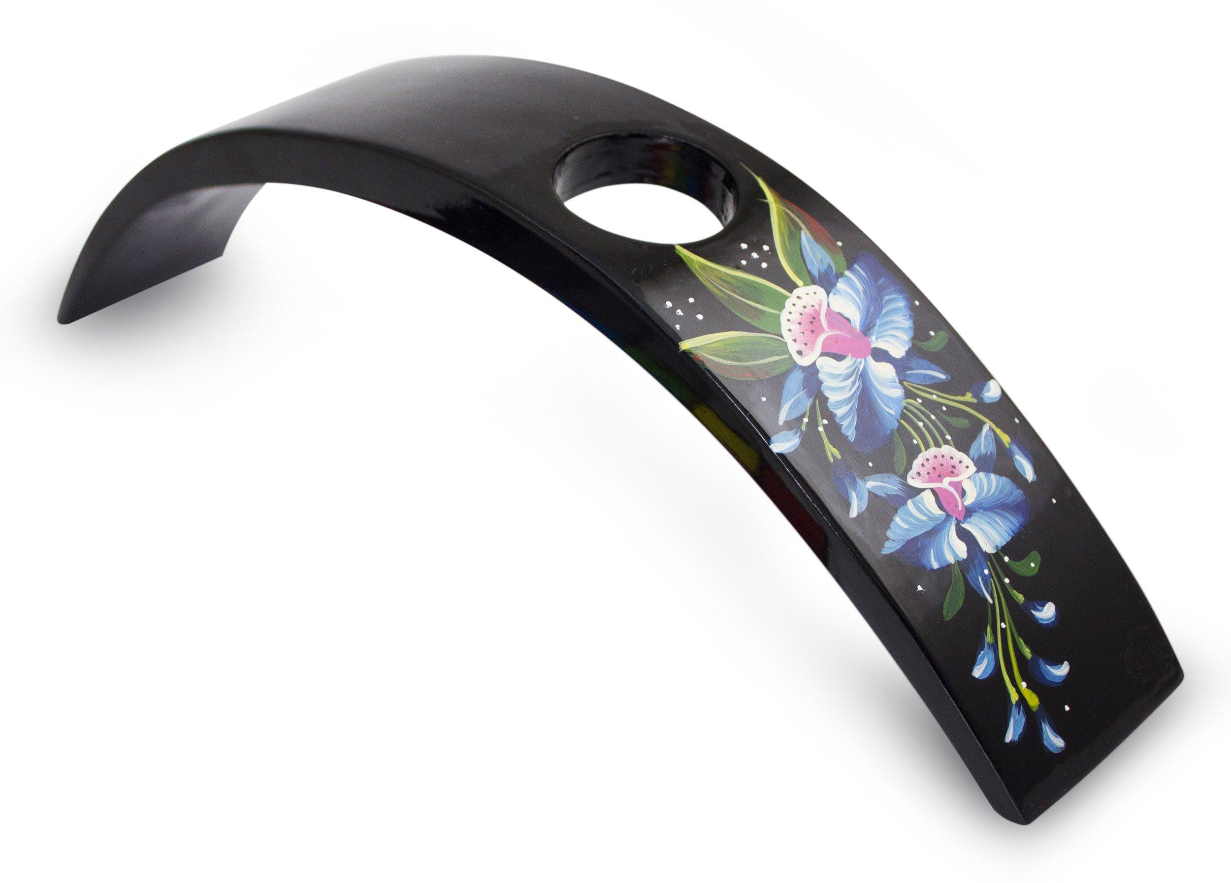 NOVICA''Azure Orchid'' Lacquered Wood Wine Bottle Holder