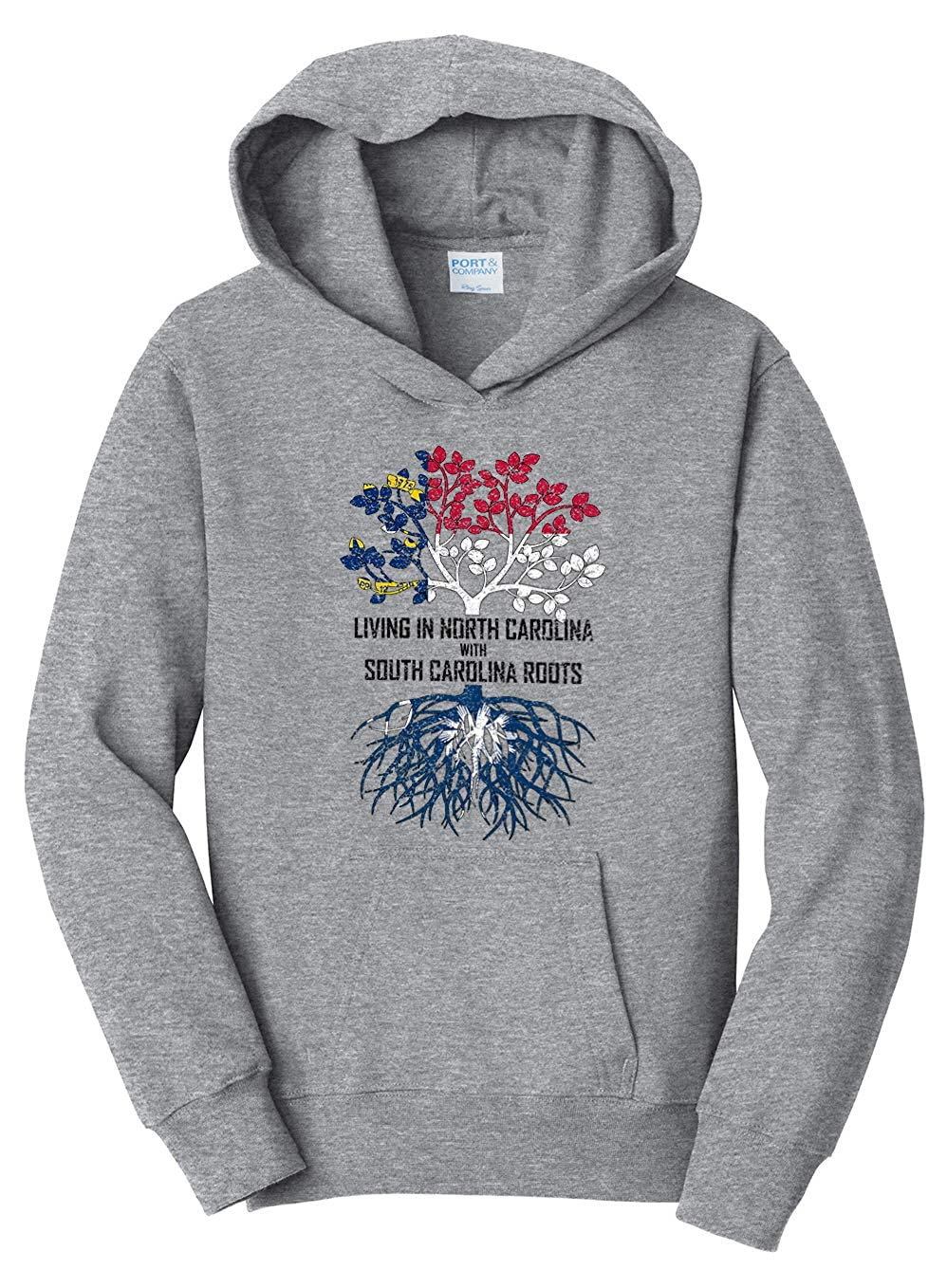 Tenacitee Girls Living in North Carolina with South Carolina Roots Hooded Sweatshirt