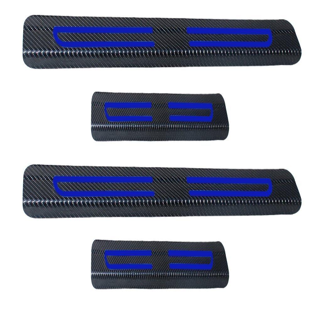 Para PORSCHE Puerta Sill 911 Cayenne Boxster Puerta Sill Protectors Fibra De Carbono Vinilo Pegatina Plata 4Pcs