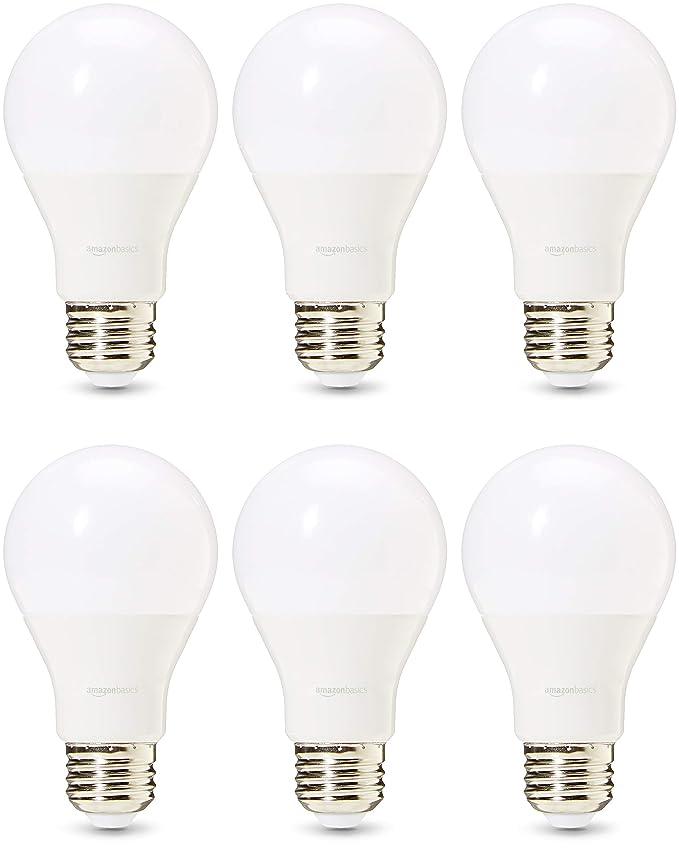 AmazonBasics Professional - Bombilla de tipo Edison LED, casquillo E27, equivalente a 60 W, blanco cálido, regulable - juego de 6: Amazon.es: Iluminación