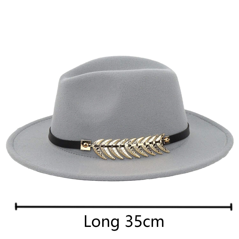 B.J. Women's Wide Brim Wool Floppy Panama Hat with Belt Buckle Fedora Hat Grey by B.J. (Image #2)