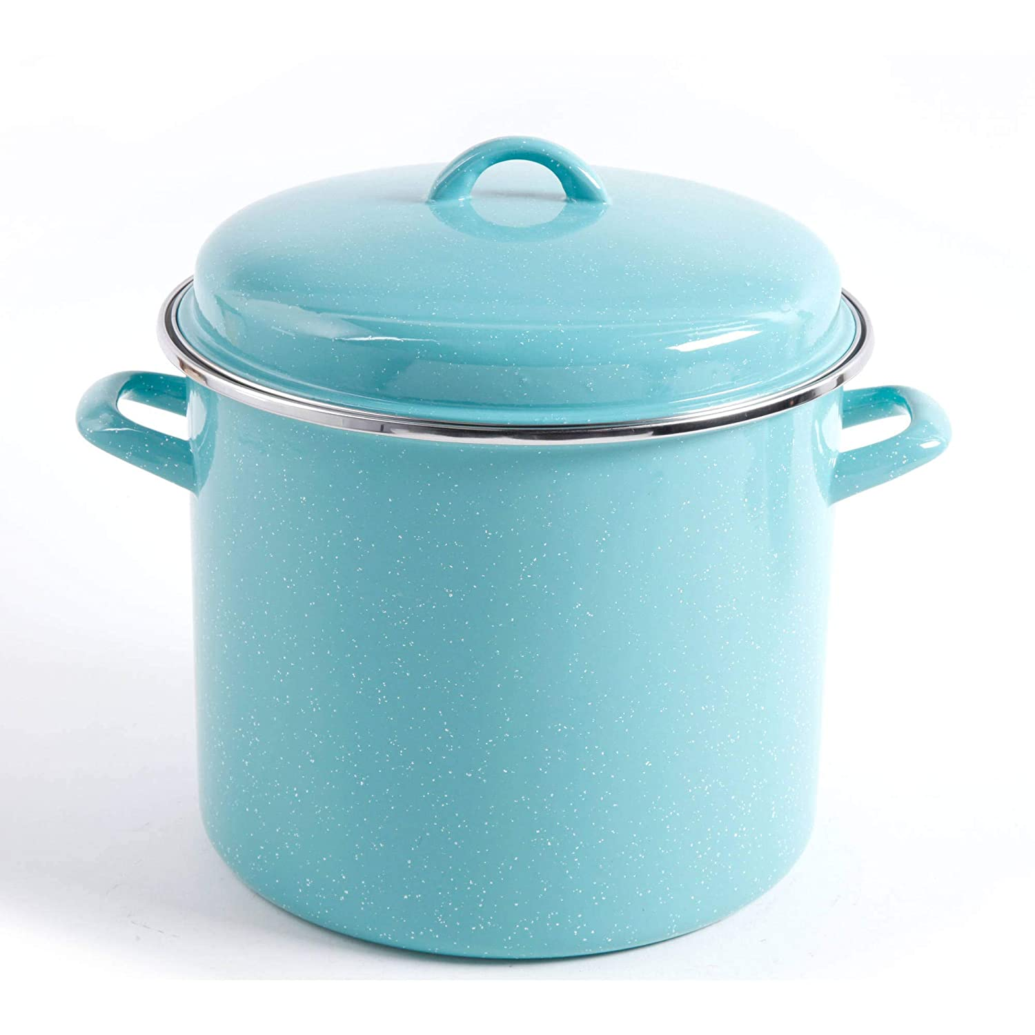 The Pioneer Woman Vintage Speckle 12-Quart Stock Pot with Hollow Side Handles (Turquoise) 82689.02R
