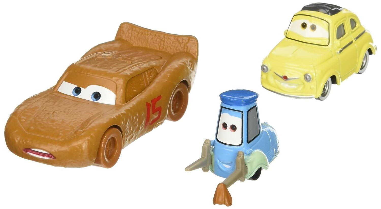Disney/Pixar Cars 3 Lightning McQueen as Chester Whipplefilter, Luigi, and Guido Die-Cast Vehicles, 3 Pack Mattel DXW00