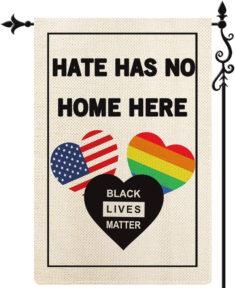 Coskaka Hate Has No Home Here Garden Flag, Back Lives Matter Flag Love is Love Vertical Double Sided Rustic Farmland Burlap Yard Lawn Outdoor Decor 12.5x18 Inch