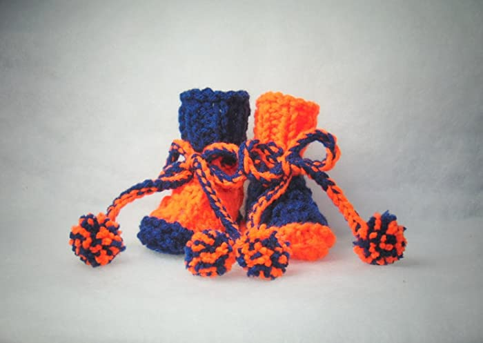 28419cea044b Amazon.com  Orange and Blue Hand Knit Baby Booties Size Newborn to 3 ...