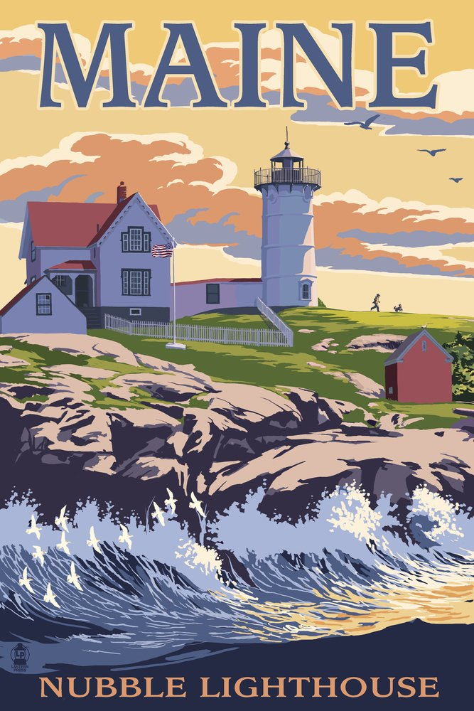 Nubble灯台 – York、メイン州 16 x 24 Signed Art Print LANT-32364-709 B07B27ZSTQ 16 x 24 Signed Art Print16 x 24 Signed Art Print