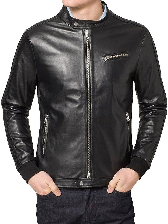 Kingdom Leather New Mens Leather Jacket Slim Fit Biker Motorcycle Genuine Lambskin Jacket X534
