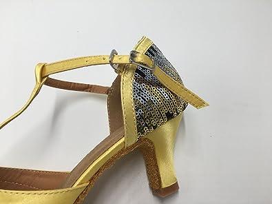 Honeystore Damen's Geschlossene Zehe T-Riemen Glitter Tanzschuhe Pailletten Gold 4.5 UK Ly0p56