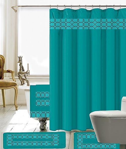 Amazon.com: 18 Piece Embroidery Banded Shower Curtain Bath Set 1 ...