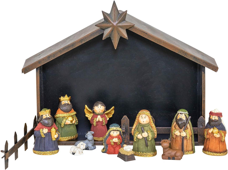 Hanna's Handiworks Estrella del Norte Colorido 12 x 9 Piedra de Resina Holiday Nativity Figurine Set de 12