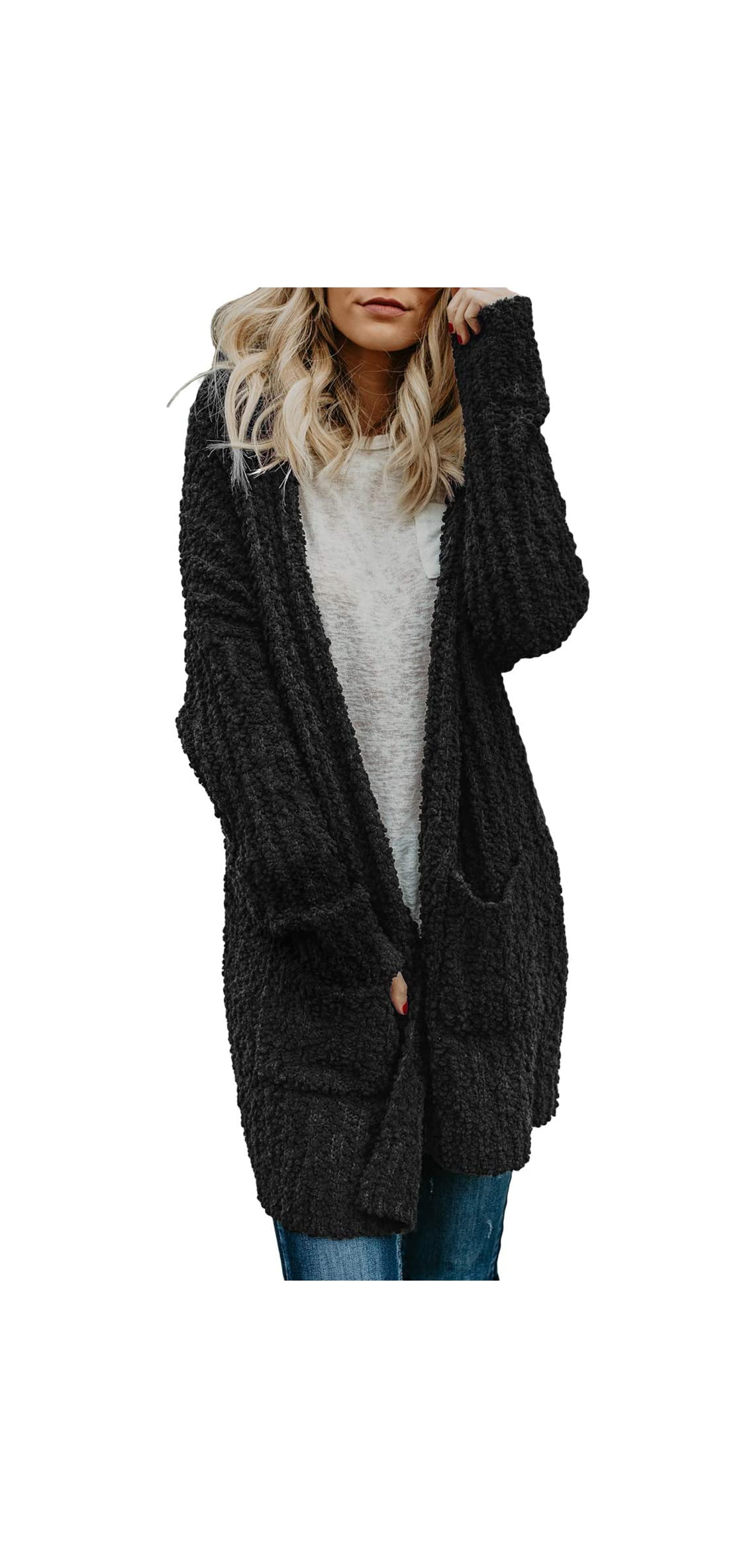 Womens Soft Oversized Open Front Popcorn Sweater With