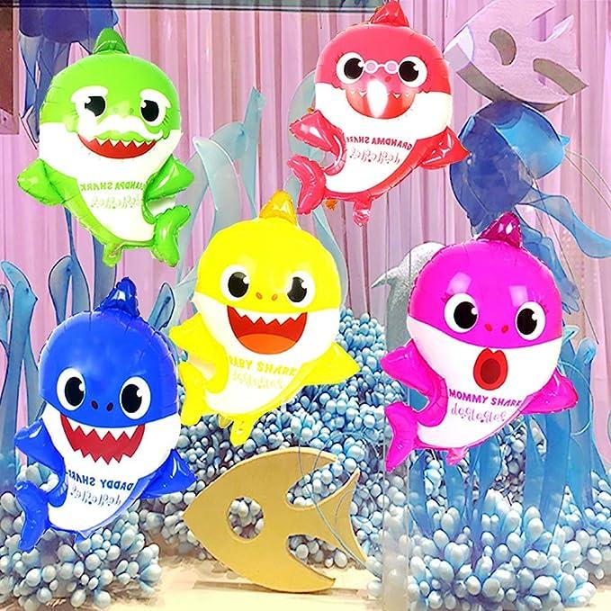 boogift Baby Shark cumpleaños Banner Baby Shower Decorations 10pcs Globos cumpleaños,5 pcs Globos de Aluminio Globos de Tiburones bebés,1pc Baby ...