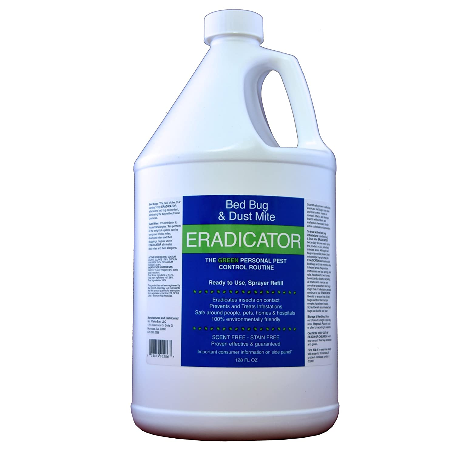 ERADICATOR for Bed Bug and Dust Mite Control / 128 Oz Natural, Non-Toxic Solution / 1 Gallon Ready to Use Refill for Spray Bottles