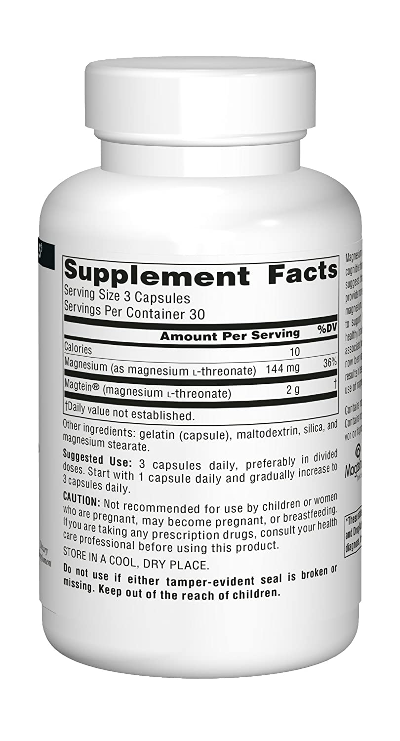 Source Naturals Magtein Magnesium L-Threonate, For Learning and Memory: Amazon.es: Salud y cuidado personal