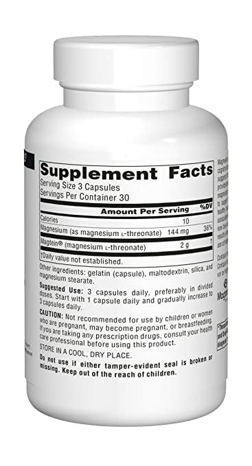 Amazon.com: Source Naturals Magtein 667mg Magnesium L-Threonate 667mg - 90  Capsules: Health & Personal Care