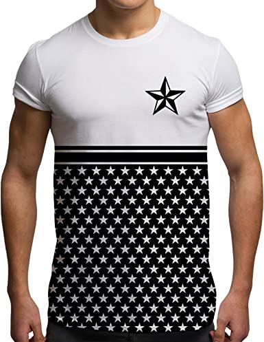 Bang Tidy Clothing Camisetas Totalmente Impresas por sublimación para Hombre con Barras y Estrellas Ropa para Festivales: Amazon.es: Ropa y accesorios