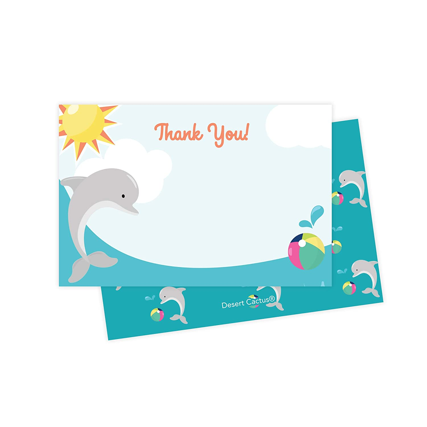 Dolphins Thank You Cards 25 Count With Envelopes Seal Stickers Bulk Birthday Party Bridal Blank Graduation Kids Children Boy Girl