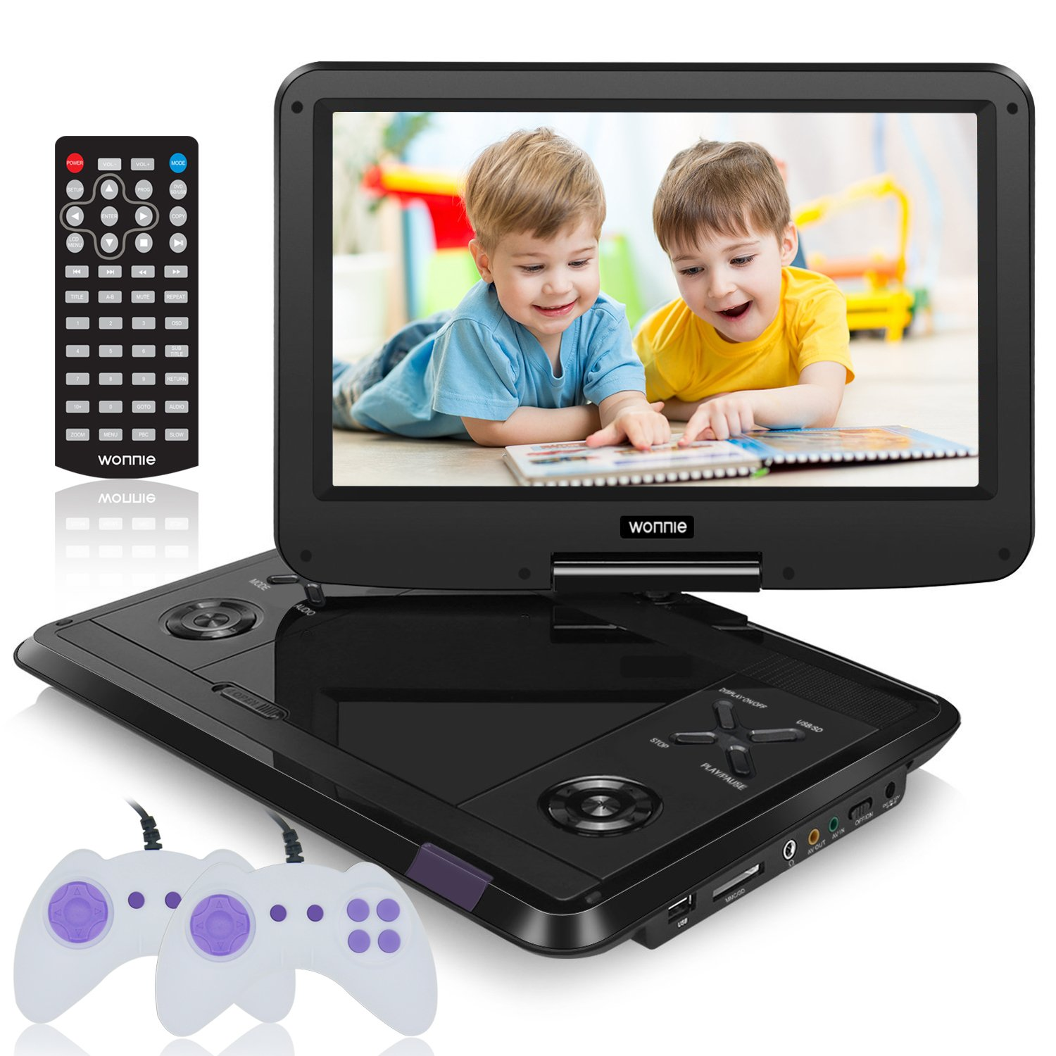 WONNIE 13.6 Inch Portable DVD Player for Kids Built-in 60 Kinds of Games, USB / SD Slot and 4 Hours Rechargeable Battery (Black) by WONNIE