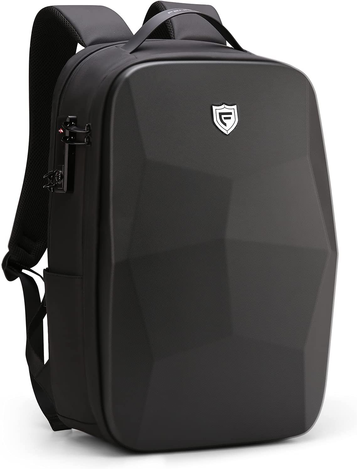 FENRUIEN 25L 17.3-Inch Laptop Backpack,Anti-Theft Business Rucksack with PC Compartment,Waterproof Daypack with USB Port for Travel/College/Work,Black