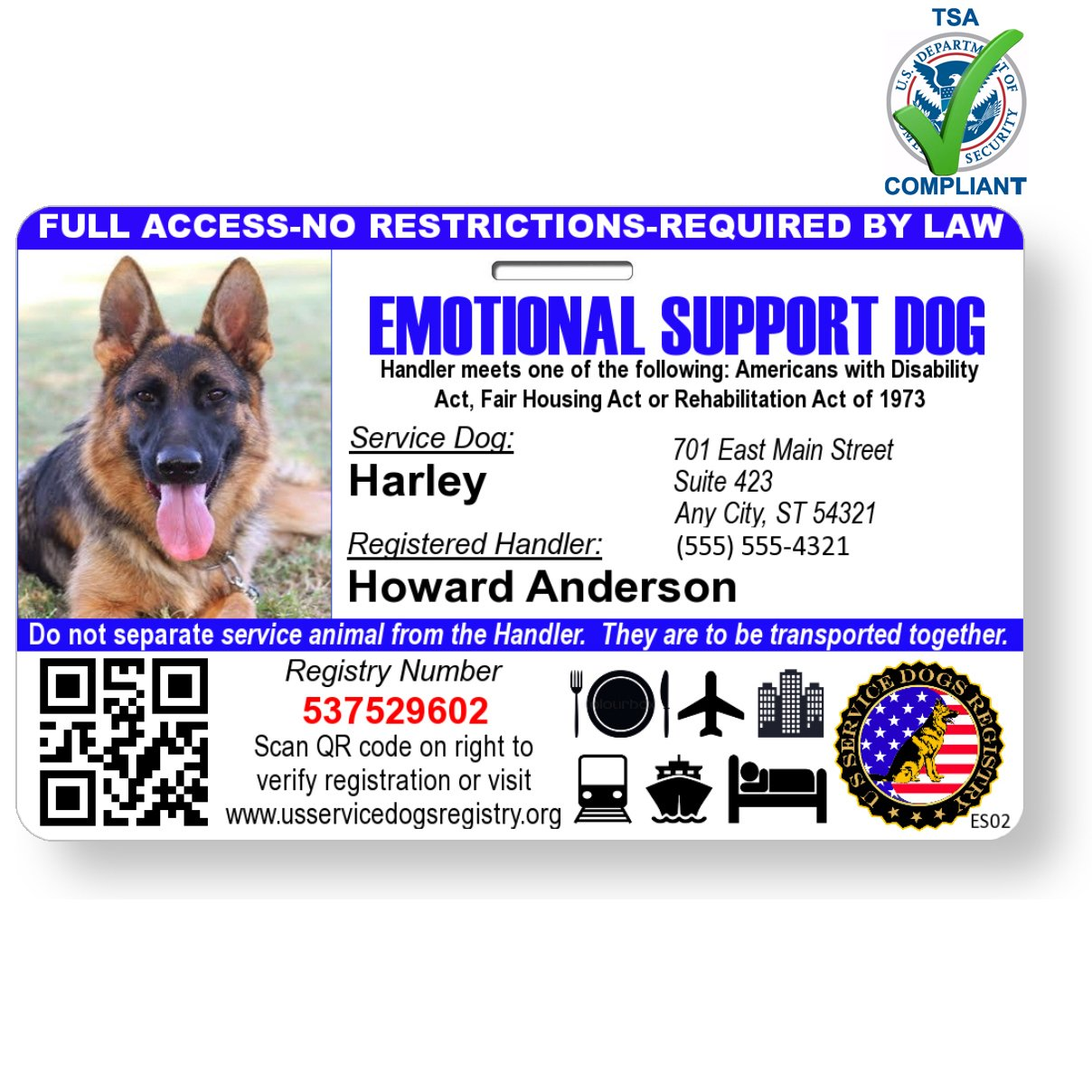 Just 4 Paws Custom Holographic QR Code Emotional Support Dog ID Card with Registration to Service Dogs Registry with Strap - Landscape Style by Just 4 Paws (Image #1)