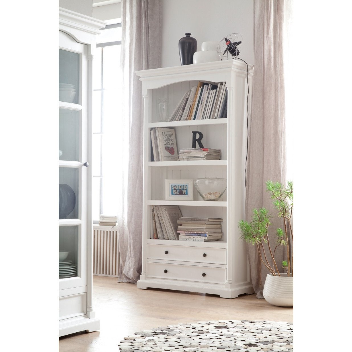 Mahogany Bookcase in White