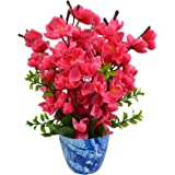 Fancy Mart Artificial Blossom Flower Plant With Marble Finish Pot,Rani Color (12 Inchs/ 30 Cms)