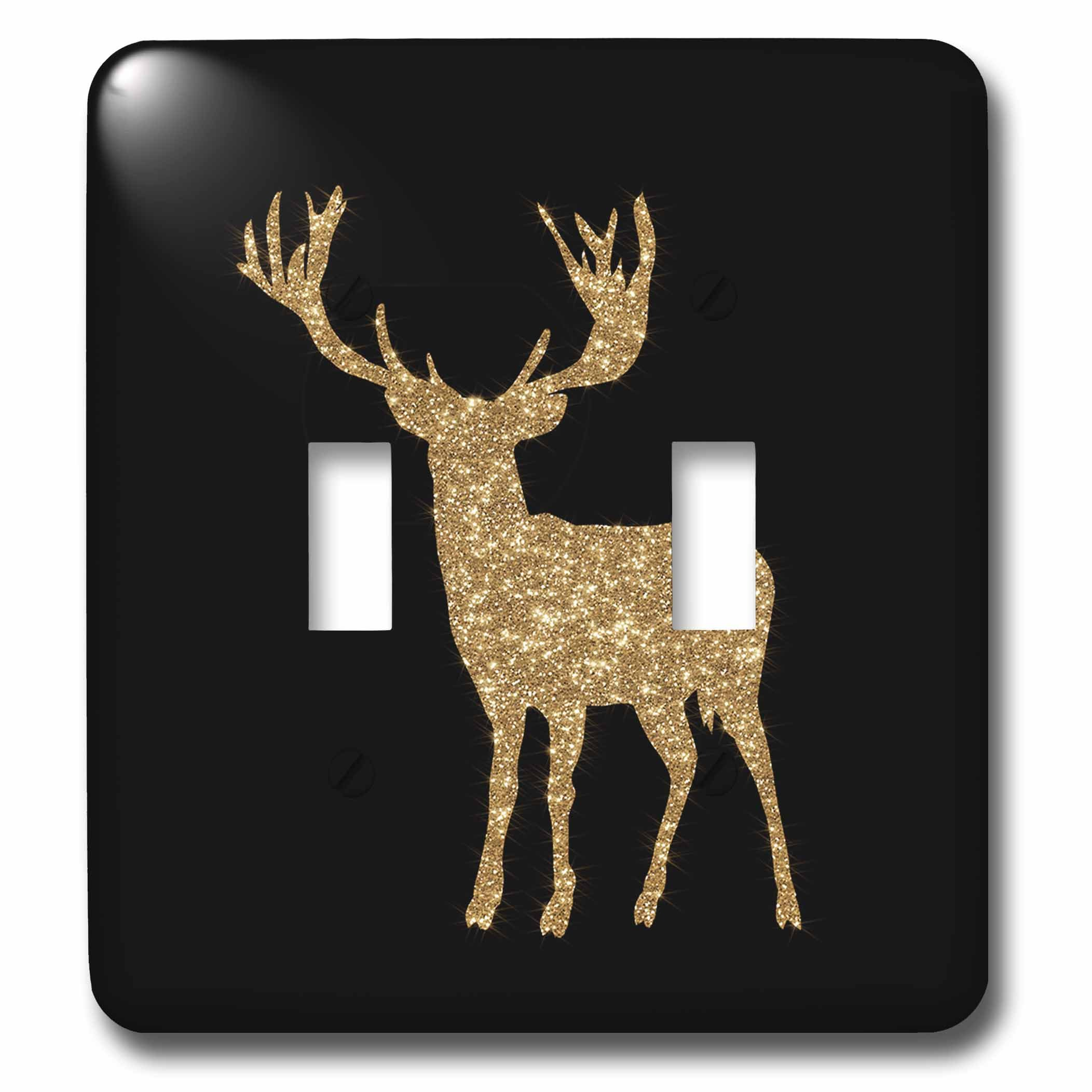 3dRose (lsp_255637_2) Double Toggle Switch (2) Gold Glitter Animal Deer on Black Background