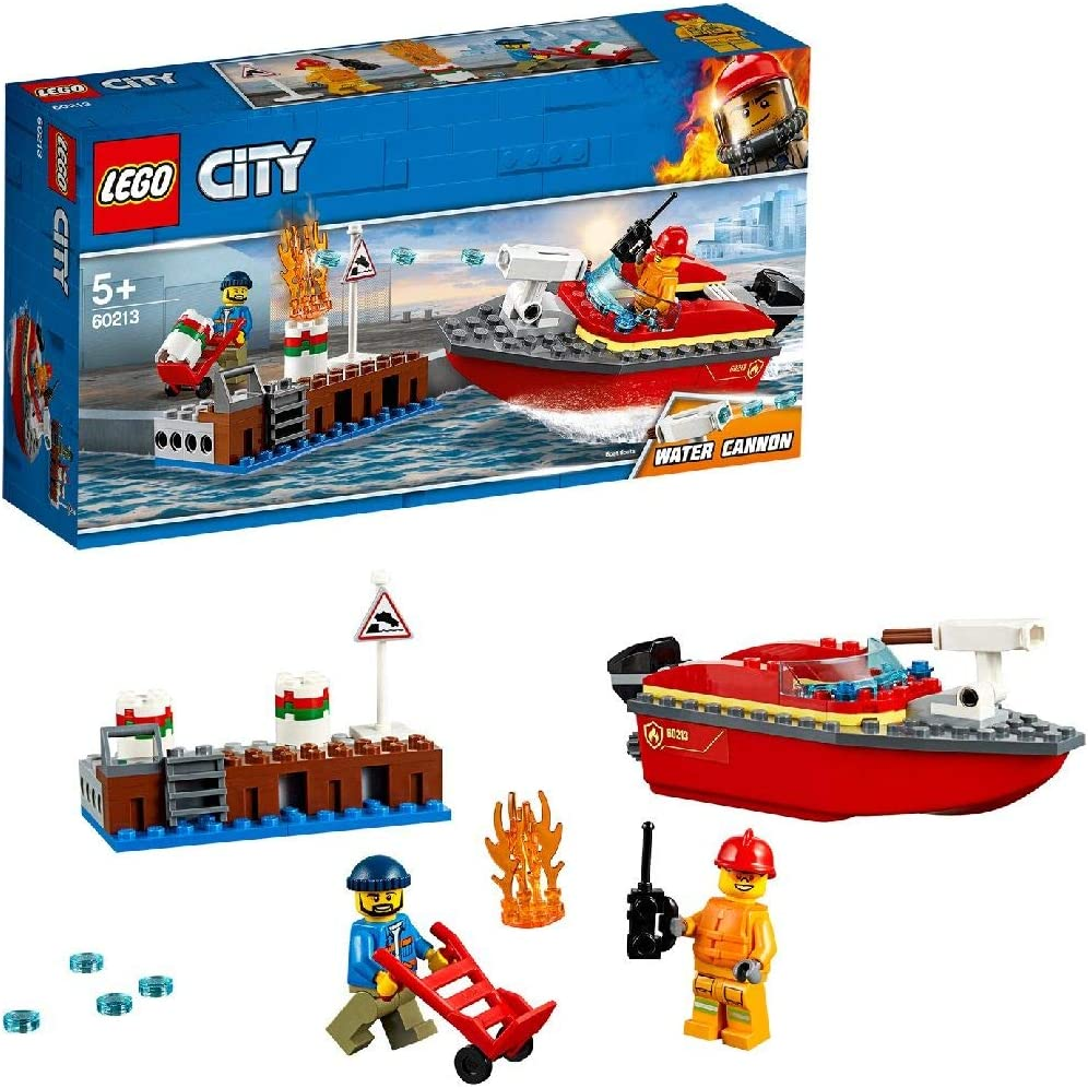 LEGO City Fire Dock Side Fire Boat Playset, Firefighter Minifigure & Acessories, Bath Toys for Kids
