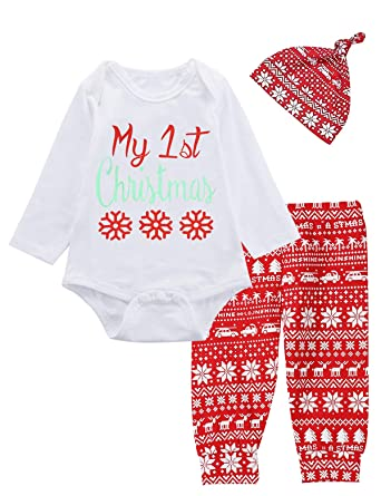 Baby Girls Boys My 1st Christmas Outfit Set Snowflake Reindeer Bodysuit (0-3  Months - Amazon.com: Baby Girls Boys My 1st Christmas Outfit Set Snowflake