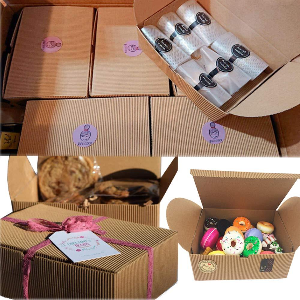 Cajas de regalo, juego de 10 cajas de panadería para galletas, magdalenas, Chocolate, 37 pegatinas decorativas incluidas