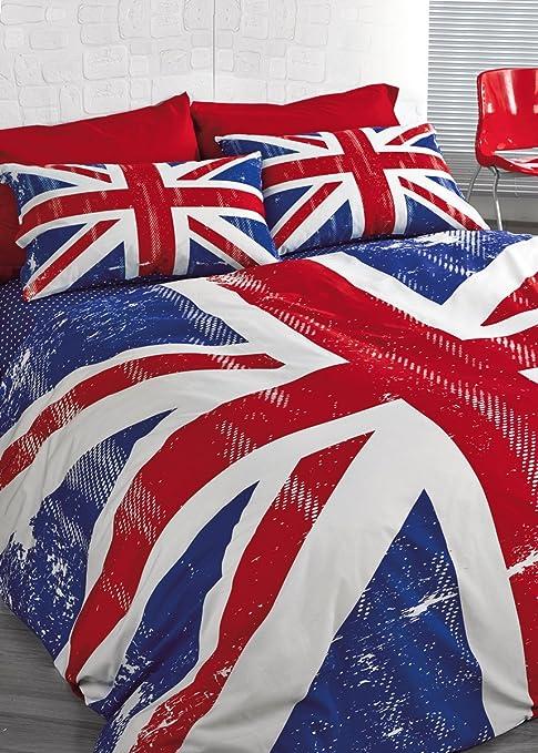 Copripiumino Matrimoniale Bandiera Inglese.Completo Copripiumino Singolo In Puro Cotone Con Stampa Della