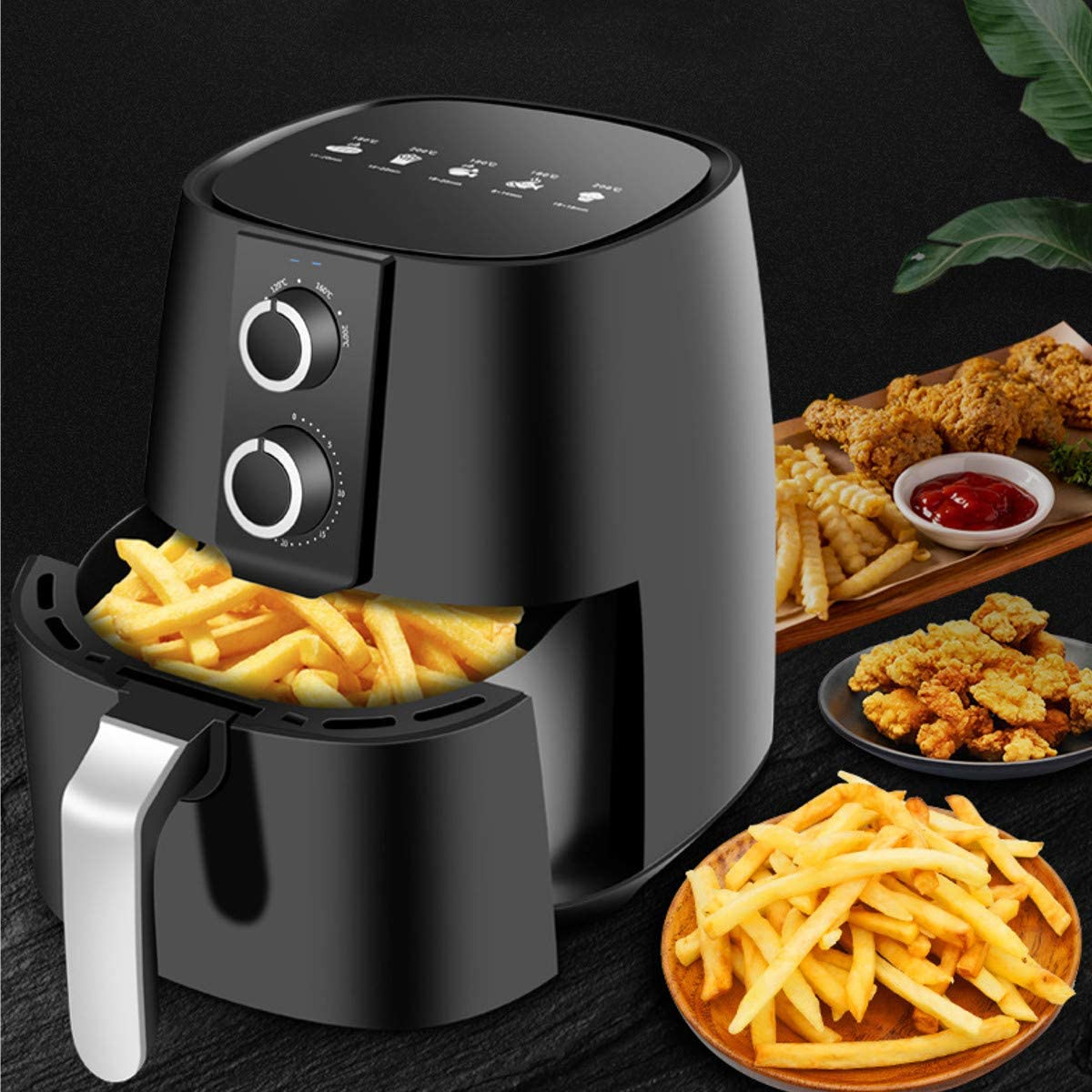 Z&H 5.3 Quart Oil Free Air Fryer,Multifunction Chicken Hot Air Fryers Health Fryer Oven Pizza Cooker Dehydrator Smart Touch LCD Electric Airfryer Luxury