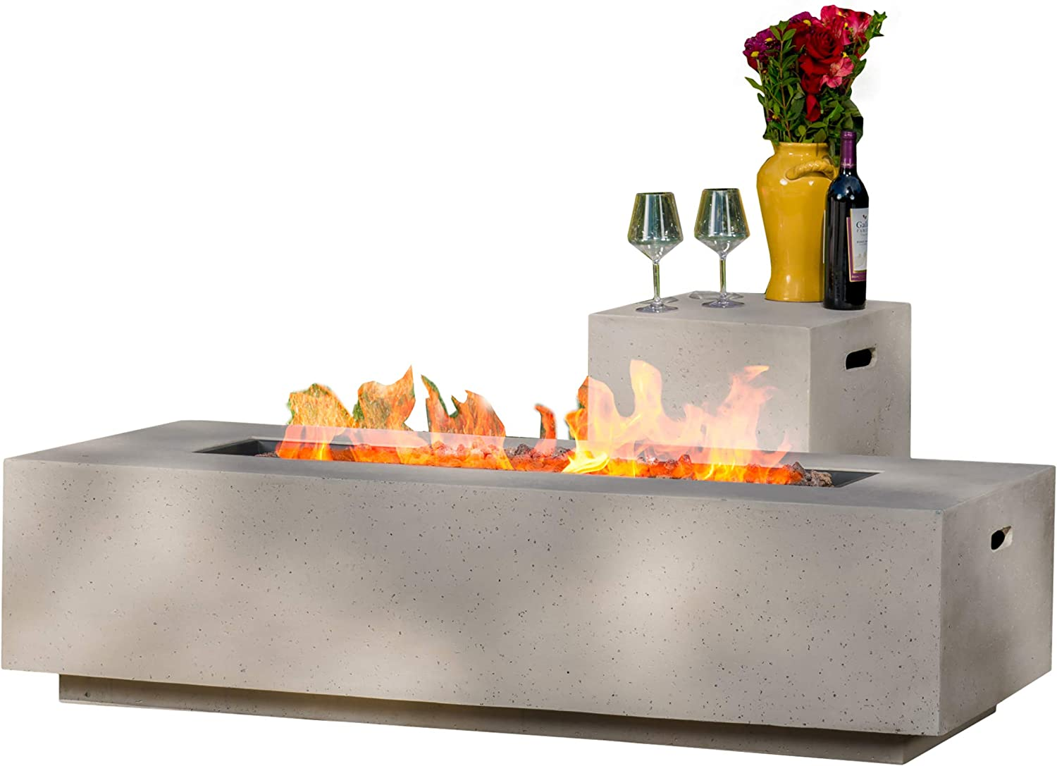 Fire Pit Accessories ELEMENTI Tank Cover Concrete Propane Gas Canister Holder in Boulder Finish
