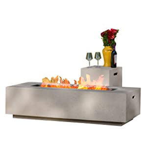 GDF Studio Jaxon Outdoor Rectangular Fire Table with Tank Holder, Light Gray