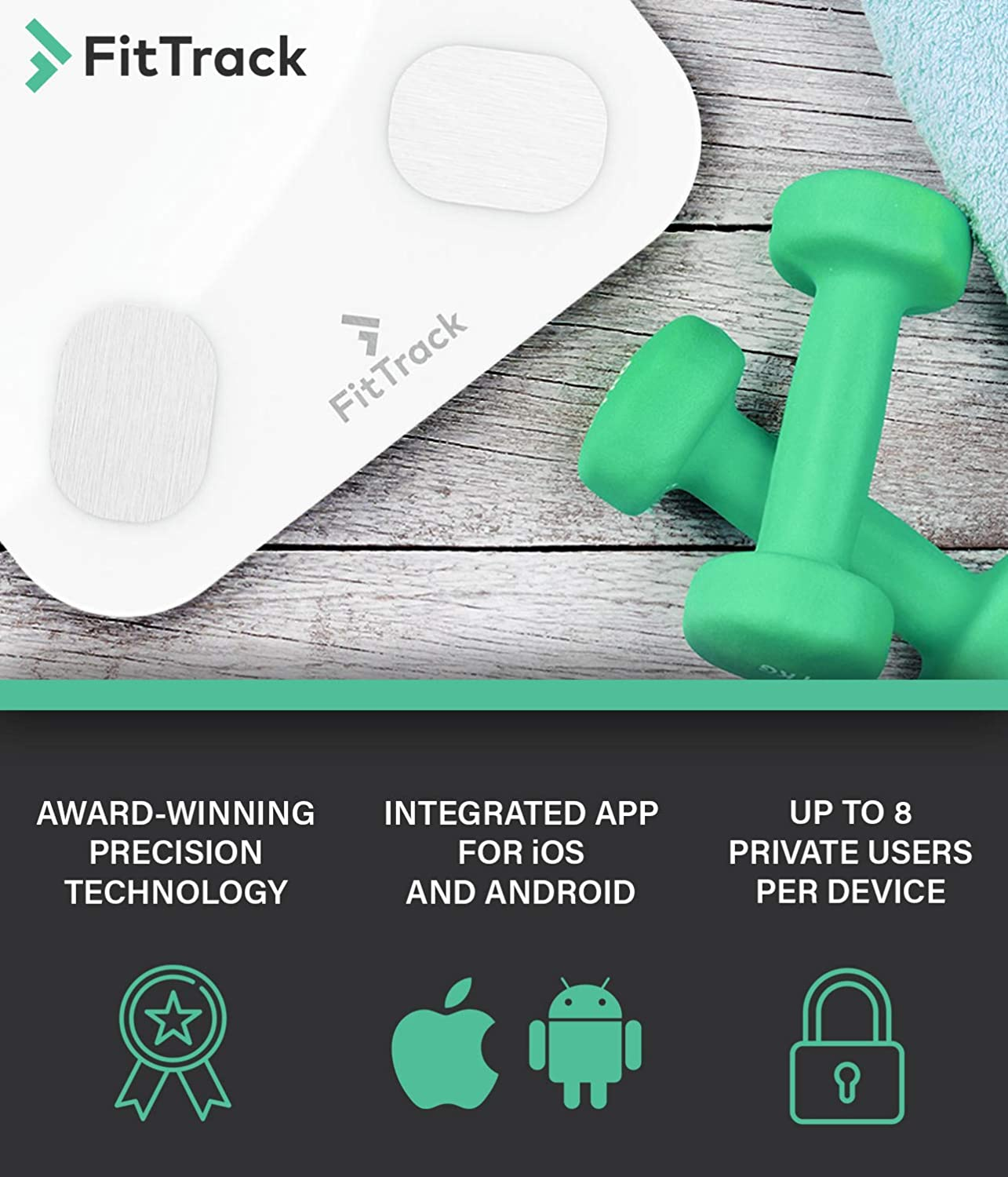 Measure Weight and Body Fat FitTrack Dara Smart BMI Digital Scale Most Accurate Bluetooth Glass Bathroom Scale