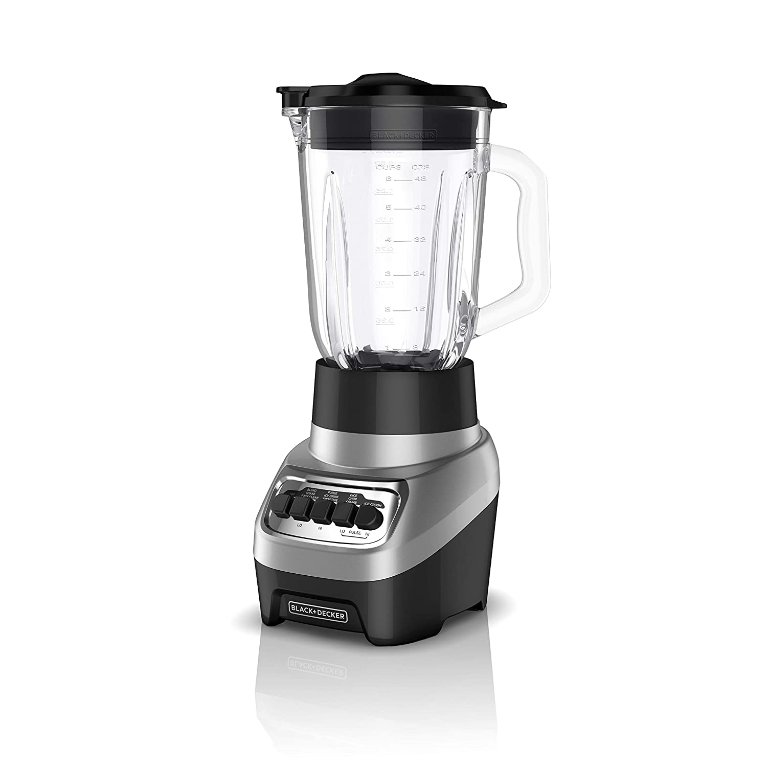 BLACK+DECKER BL1230SG PowerCrush Multi-Function Blender with 6-Cup Glass Jar, 4 Speed Settings, Silver