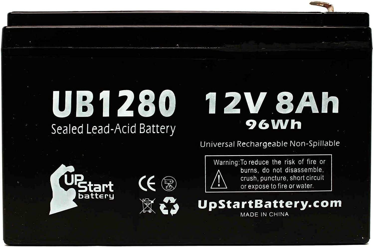 2 Pack Replacement for Tripp Lite OMNIVS1500XL Battery Replacement UB1280 Universal Sealed Lead Acid Battery 12V, 8Ah, 8000mAh, F1 Terminal, AGM, SLA - Includes 4 F1 to F2 Terminal Adapters