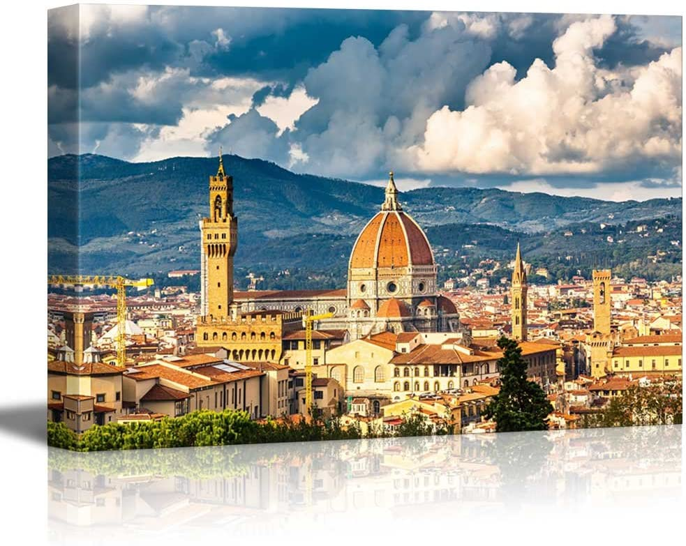 wall26 - Canvas Prints Wall Art - View on Florence and Duomo Cathedral, Italy | Modern Wall Decor/Home Decoration Stretched Gallery Canvas Wrap Giclee Print. Ready to Hang - 24
