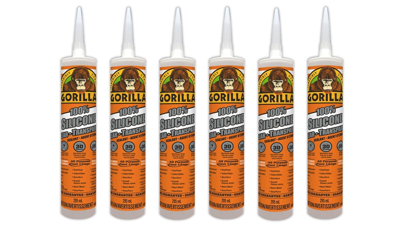 Gorilla 8050001 100 Percent Silicone Sealant Caulk, 6 Pack, Clear, 6 Cartridge