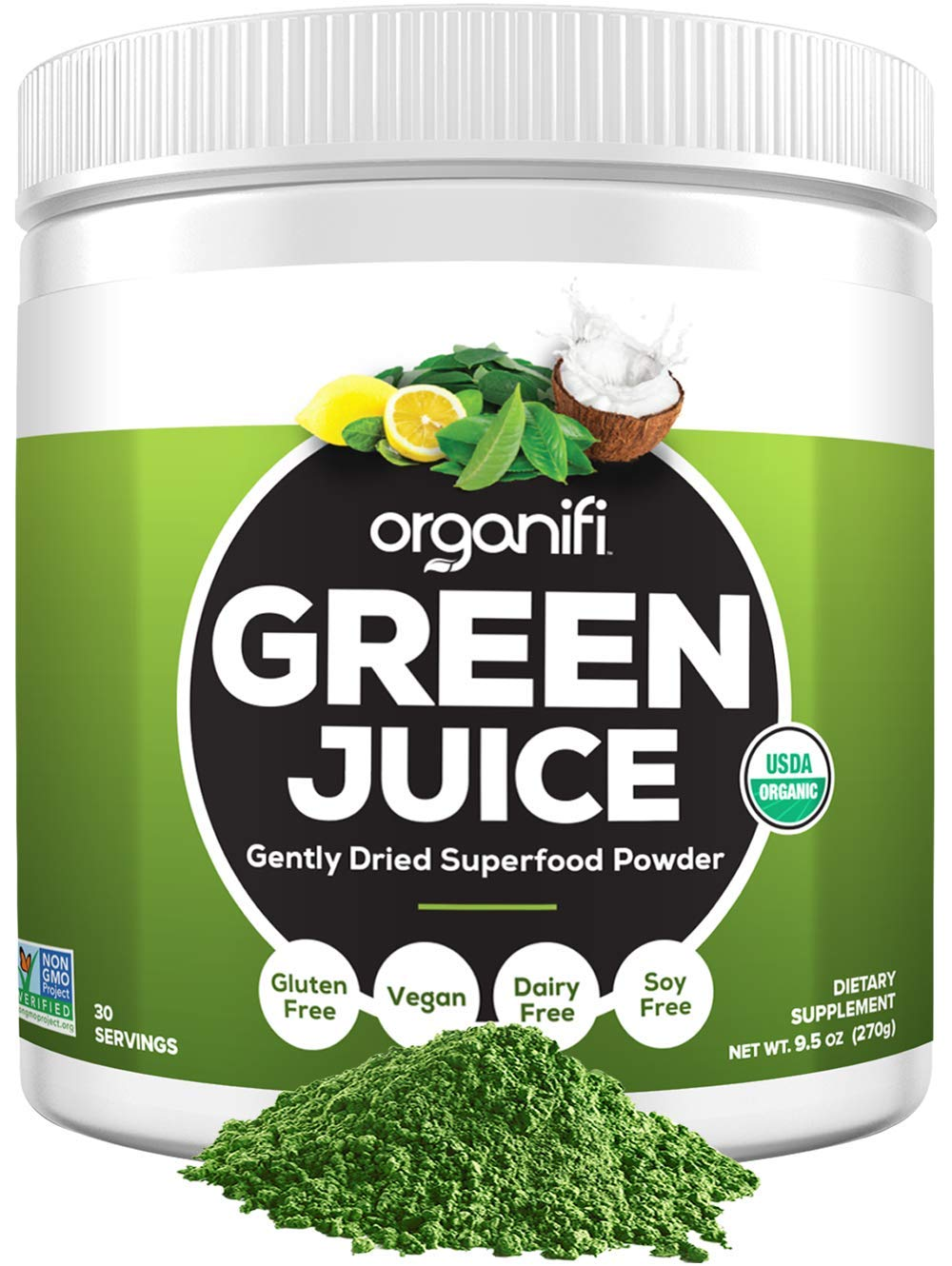 Organifi: Green Juice - Organic Superfood Supplement Powder - 30 Day Supply - USDA Certified Organic Vegan Greens- 9.5 Ounce (Pack of 1) by Organifi