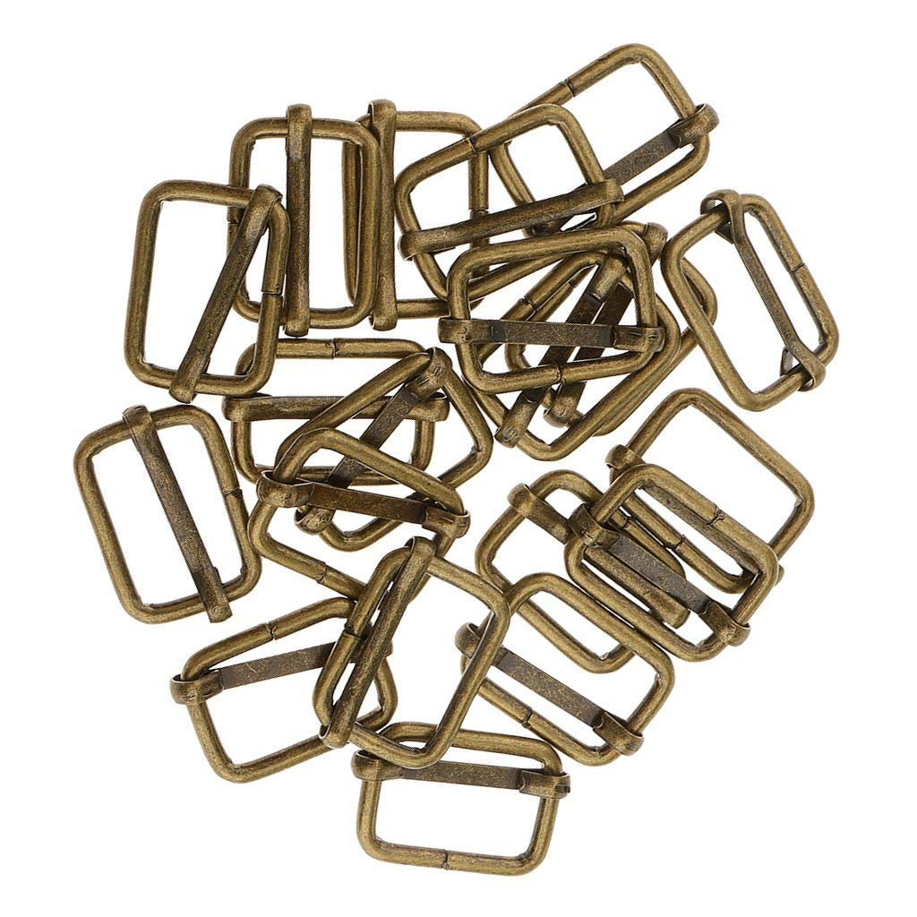 20 Pieces Rectangle Adjuster Roller Pin Buckles Slider Strap for Making Handbag, Backpack, Luggage Bag DIY Accessories (Bronze, 20x13x2.8mm) shangmu