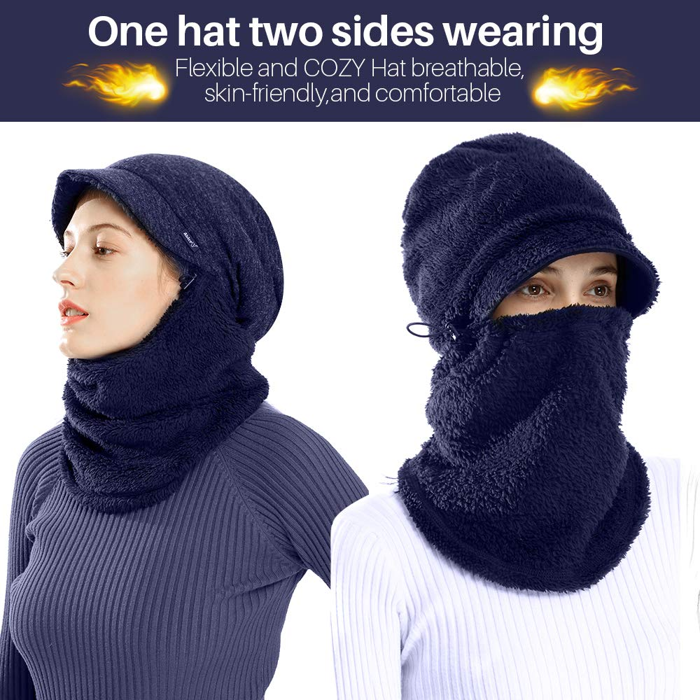 AblerV Balaclava Men Women Winter Hat Scarf Set Windproof Ski Mask Winter Warmer Protective Headgear Wind Resistant Cap, Ski Face Mask Hat Outdoor Sports Cycling Motorcycle Dark Blue by AblerV (Image #2)