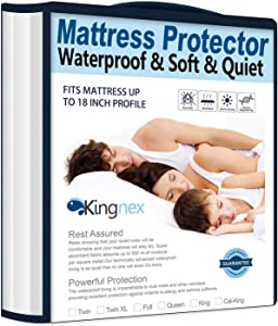 """Kingnex Waterproof Bamboo Mattress Protector Queen Size - Fitted 8-18"""" Deep Pocket Hypoallergenic Breathable Mattress Cover"""