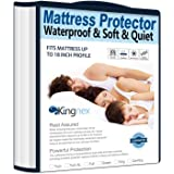 Kingnex Extra Long Waterproof Bamboo Mattress Protector Twin XL Hypoallergenic Breathable Fitted Mattress Cover